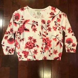 Requirements Floral 3/4 Sleeve Cardigan Sweater M
